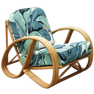 Restored 3/4 Round Pretzel Rattan Chair with Optional Beverly Palms Cushions For Sale
