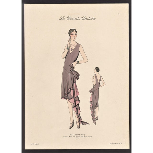 1920s 1920 French Art Deco Couture Fashion Print For Sale - Image 5 of 5