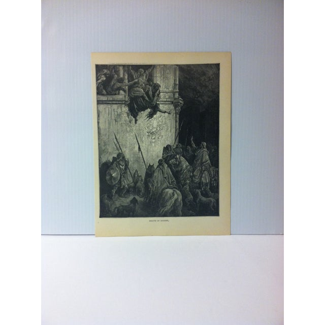 """Antique 1901 Gustave Dore Illustrated Print on Paper """"Death of Jezebel"""" For Sale - Image 4 of 4"""