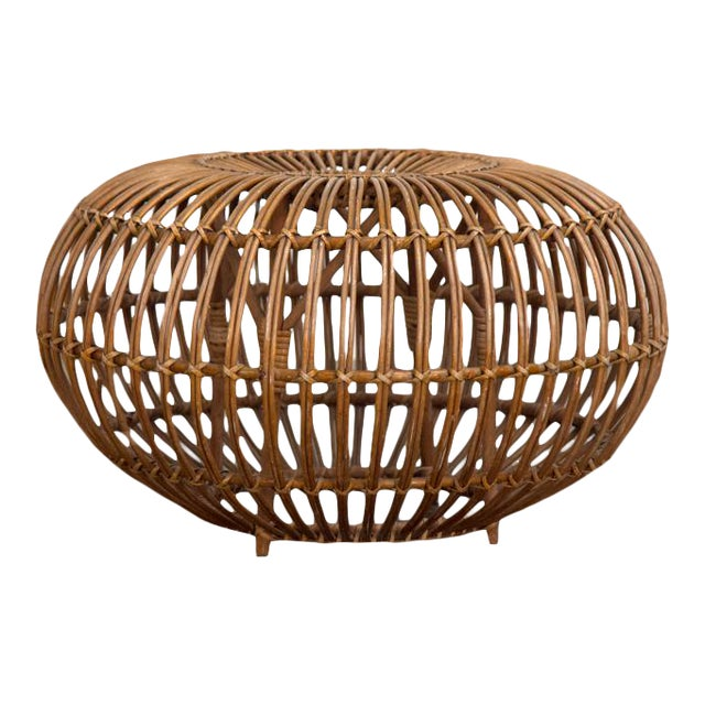 Vintage Woven Rattan Ottoman by Franco Albini For Sale