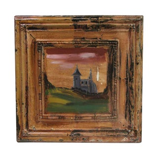 Paul McCrone Antique Tin Panel Painting For Sale