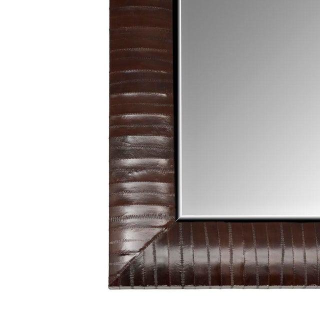 """Genuine Chocolate Brown Eel Skin Framed Beveled Mirror by KLASP home *Genuine Eel Skin *chocolate brown color *24"""" x 28″ ×..."""