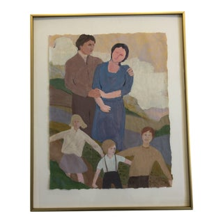 """""""Family Outing"""" Marilyn Spencer (New Orleans, 1939-2017) Acrylic on Paper For Sale"""