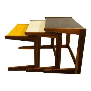 1960s Jens Risom Walnut Vinyl Nesting Tables - Set of 3 For Sale