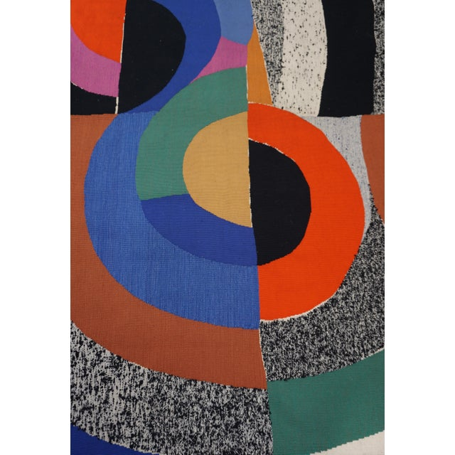 """Abstract Modern Tapestry Designed by Sonia Delaunay, Woven by Pierre Daquin - """"Hippocampe"""" For Sale - Image 3 of 6"""