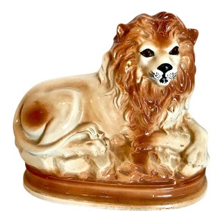 19th C. Staffordshire Recumbent Lion
