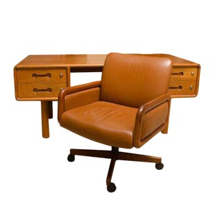 1980s Danish Modern Teak Desk With Matching Desk Chair - 2 Pieces For Sale
