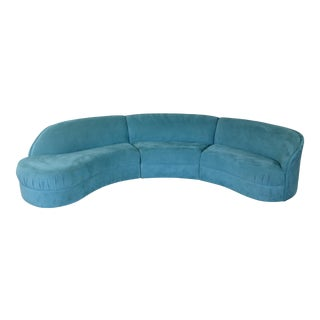 Mid-Century Weiman 3-Piece Serpentine Sectional Cloud Sofa in Teal Velvet For Sale