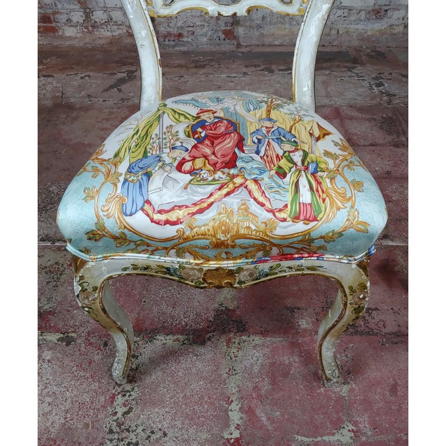 Wood 18th Century Venetian Painted and Upholstered Side Chair For Sale - Image 7 of 11
