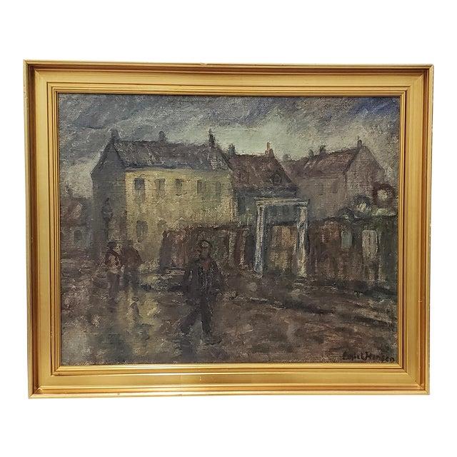 Emiel Hansen (Denmark, 1872-1952) Figures on a Cloudy Day Original Oil Painting C.1930 For Sale