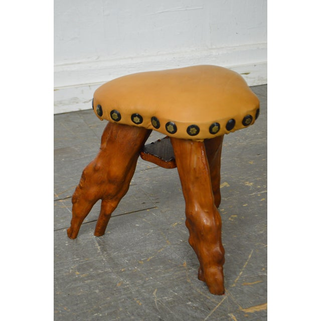 Cypress Tree Root Leather Seat Small Stool For Sale - Image 10 of 10