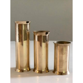 Danish Mid-Century Modern Vintage Glam Brass Candle Holders - Set of 3 Preview