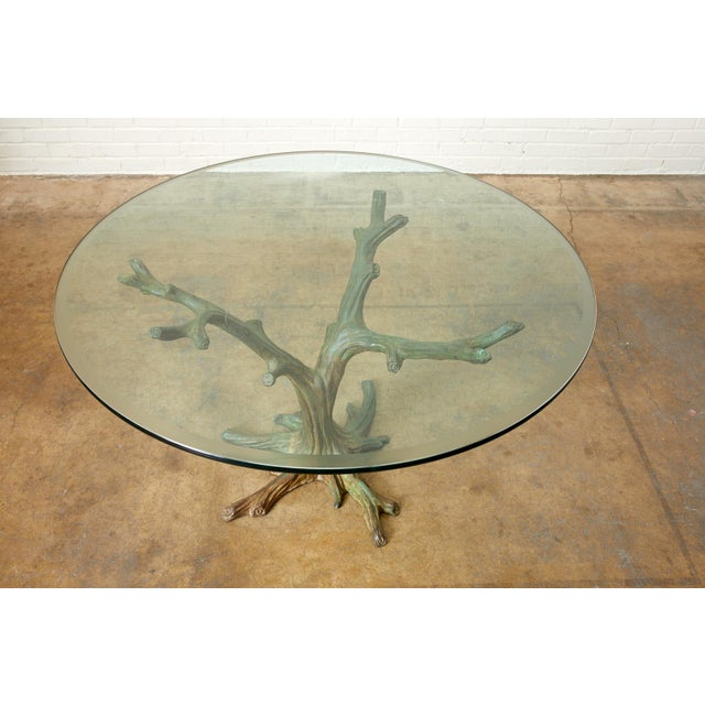 French Bronze Faux Bois Tree Sculpture Dining Table For Sale In San Francisco - Image 6 of 13