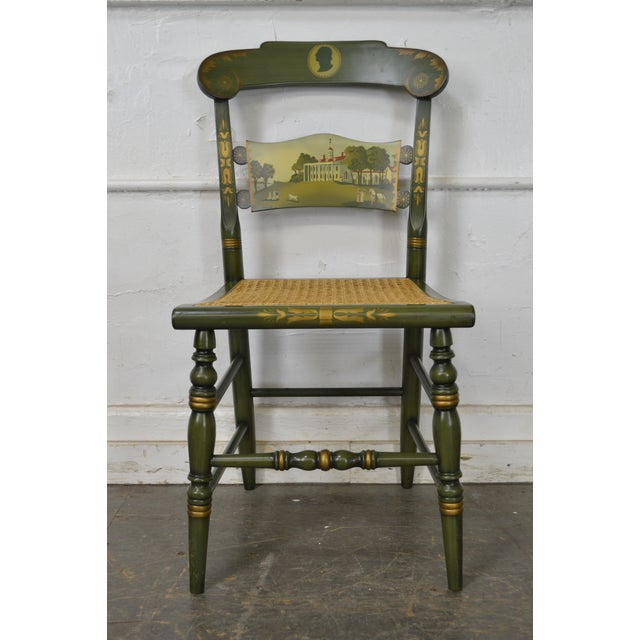 Caning Hitchcock Green Painted George Washington Mount Vernon Cane Seat Side Chair For Sale - Image 7 of 13