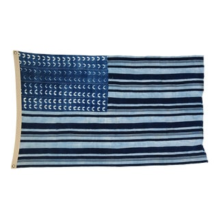 "Boho Chic Indigo Blue & White Flag From African Textiles 55"" X 34"""