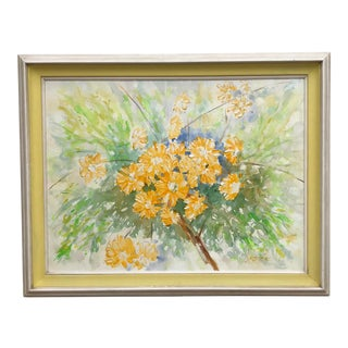 Mid Century Modern Bouquet Oil Painting For Sale