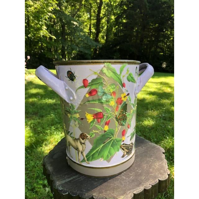 American Flora and Fauna Antique French Metal Bucket For Sale - Image 3 of 10