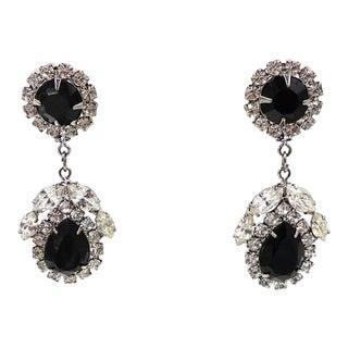 Marie Ferra Faux-Onyx & Clear Rhinestone Drop Pierced Earrings For Sale