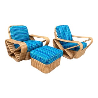 1930's Paul Frankl Six Strand Pretzel Rattan Chairs and Ottoman - 3 Piece Set For Sale