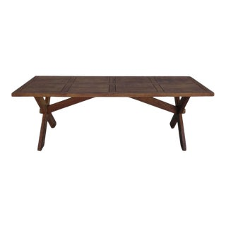 French Rustic Trestle Table Arts and Crafts Mission Style For Sale