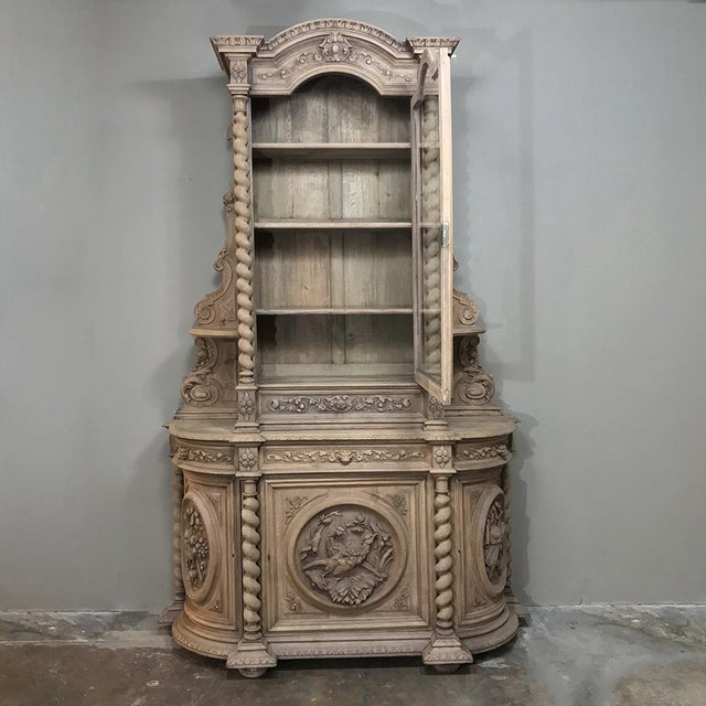 19th Century Renaissance Stripped Oak Hunt Bookcase For Sale - Image 9 of 13