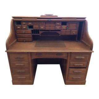 Antique Oak Roll Top Desk