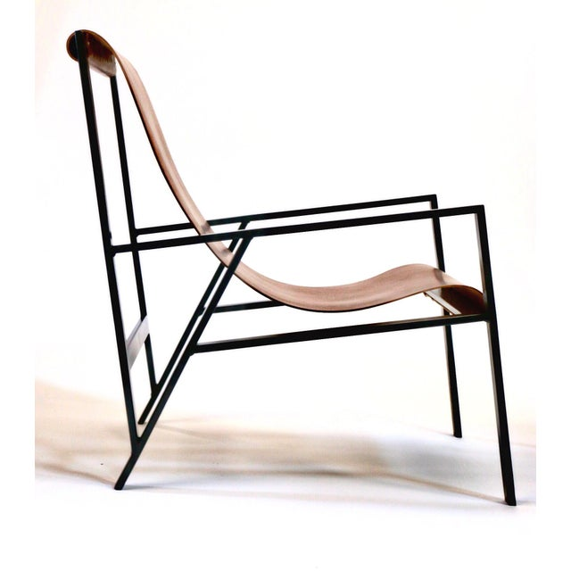 Contemporary Hampton Light Black Frame, Distressed Brown Leather Lounge Chair For Sale - Image 3 of 8