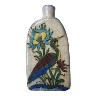 Mid-1800s Persian Qajar Iznik Three Sided Pottery Bottle For Sale