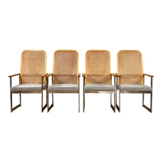 Vintage Mid Century Modern Cane and Chrome Dining Chairs- Set of 4 For Sale