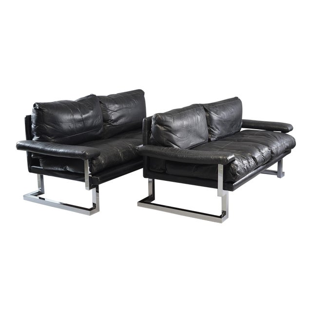 Black Leather and Chrome Sofas by Tim Bates for Pieff & Co. - a Pair For Sale