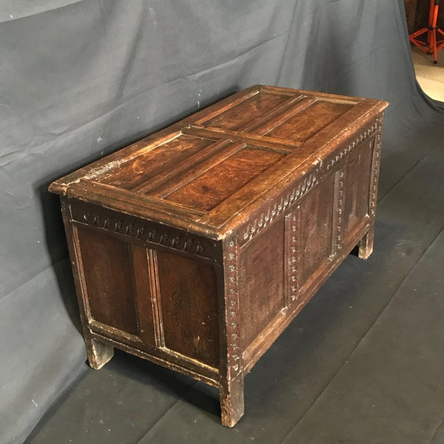 Late 18th Century Antique 18th Century Paneled and Carved Scottish Coffer Chest For Sale - Image 5 of 13