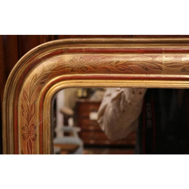 French Mid-19th Century French Louis Philippe Gold Leaf Floral Design Mirror For Sale - Image 3 of 7
