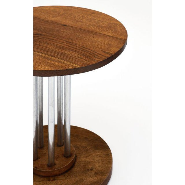 Contemporary French Architectural Oak on Chromed Steel Tubes Gueridon Table For Sale - Image 3 of 10