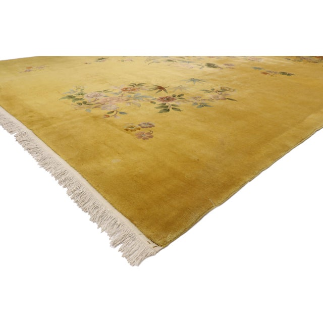 77391 Early 20th Century Antique Gold Chinese Art Deco Rug Inspired by Walter Nichols 10'08 x 14'06. This hand knotted...