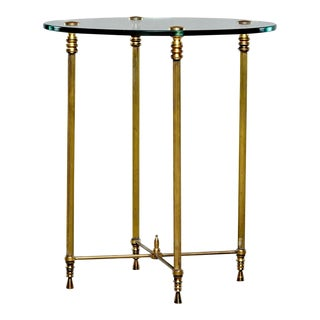 French Mid Century Neoclassical Style Brass and Glass Side Table For Sale