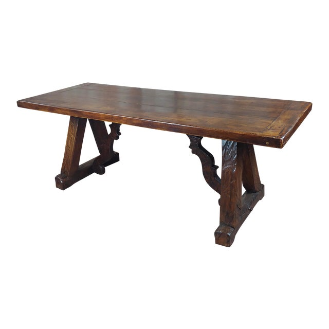 1960s Spanish Colonial Gorgeous Walnut Dining Table For Sale