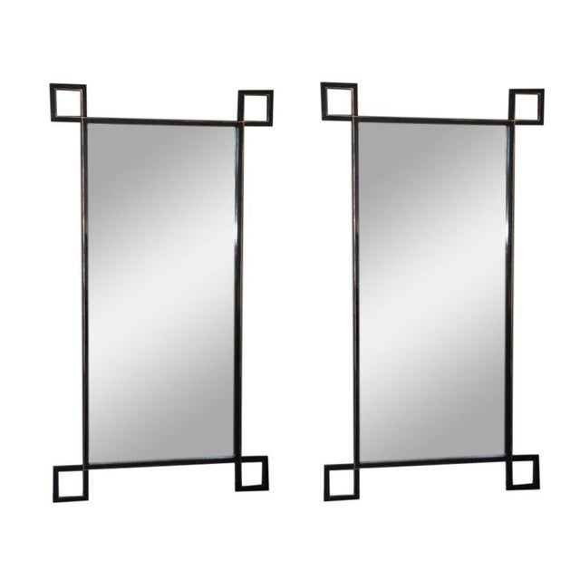 Black Pair of Oversized 'Oxyde' French Industrial Mirrors by Design Frères For Sale - Image 8 of 8