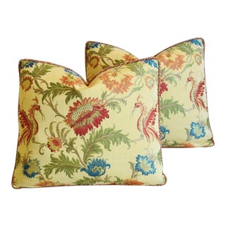 Designer Italian Coraggio Jacquard Feather/Down Pillows - Pair For Sale