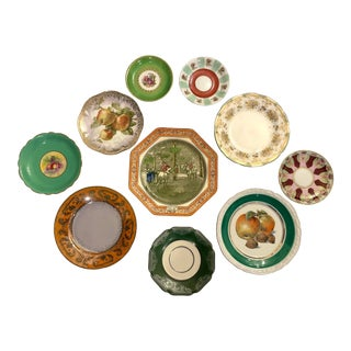 Orange and Green Mixed Decorative Plates- a Set of 10 For Sale