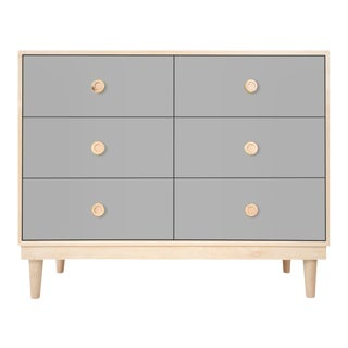 Nico & Yeye Lukka Modern Kids 6 Drawer Dresser Maple Gray For Sale