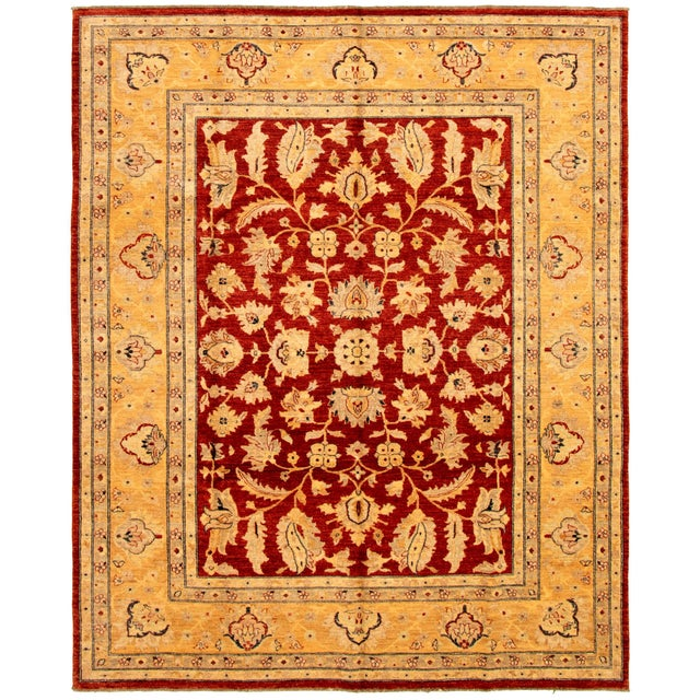 Hand-Knotted Red Rug For Sale - Image 9 of 9