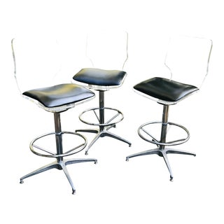 1970s Vintage Lucite and Chrome Swivel Counter Stools - Set of 3 For Sale