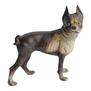 Antique Cast Iron Boston Terrier Dog Doorstop For Sale