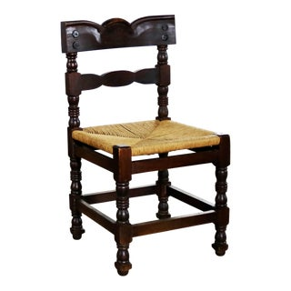Spanish Colonial Style Dining Chairs With Rush Seats Stamped Hecho en Mexico For Sale