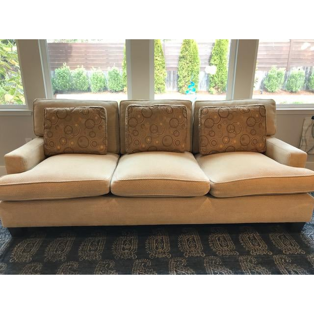 """Barbara Barry's """"Modern"""" sofa is a current model listed on both Barry's and Baker's websites. It is a stylish and very..."""