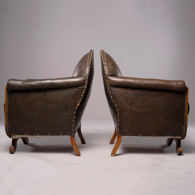 All Original French Art Deco Leather Club Chairs With Velvet Cushions-A Pair For Sale In Detroit - Image 6 of 13