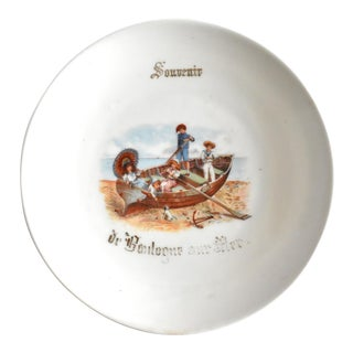 Antique 19th-Century French Souvenir Plate From Boulognes-Sur-Mer For Sale