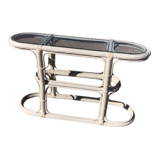 1980's Postmodern White Bamboo/Cane/Glass Console Table For Sale