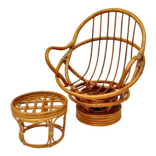 1960's Vintage Boho Chic Rattan Rocking and Swivel Lounge Chair For Sale