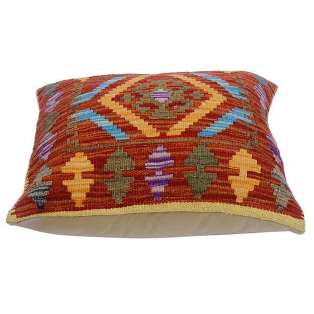"Asian Charlsie Red/Pink Hand-Woven Kilim Throw Pillow(18""x18"") For Sale - Image 3 of 6"